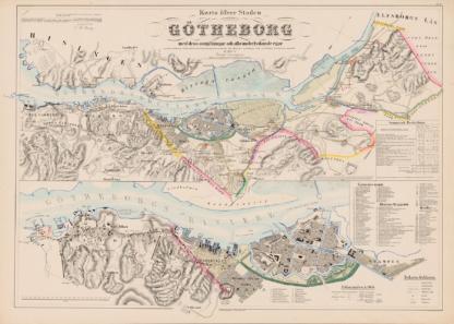 Karta över staden Göteborg med dess omgivningar och alla underlydande ägor upprättades 1855.