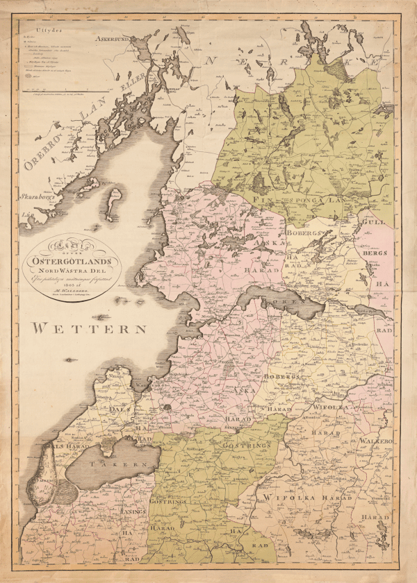 Handritad karta över Nordvästra Götaland från 1805.