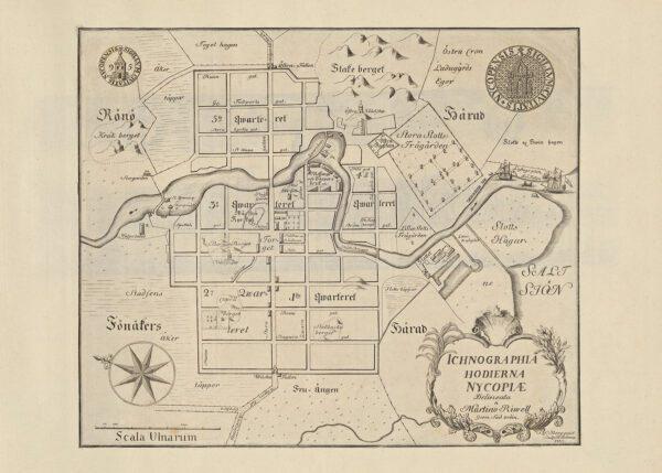 Stadskarta över Nyköping 1735