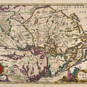 Karta över Uppland från 1680-talet.