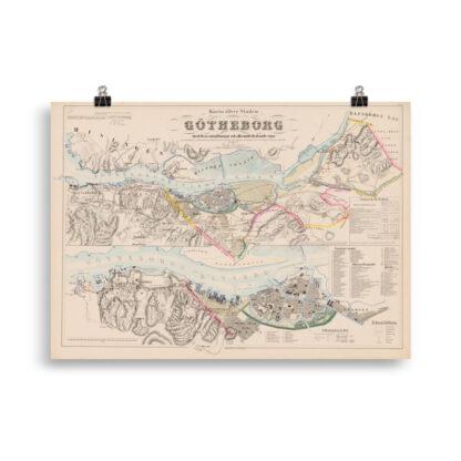 Karta över staden Göteborg med dess omgivningar och alla underlydande ägor upprättades 1855
