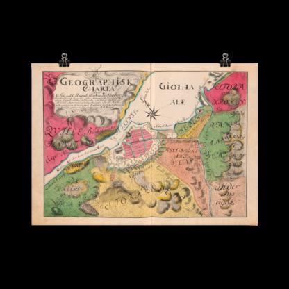 Historisk karta över Göteborg från 1766.