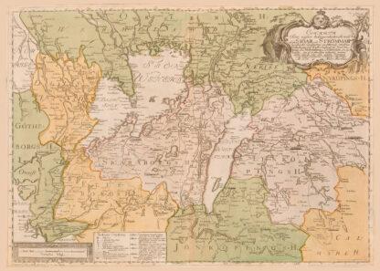Karta över sjöar och strömmar för segelfartens införande från 1774
