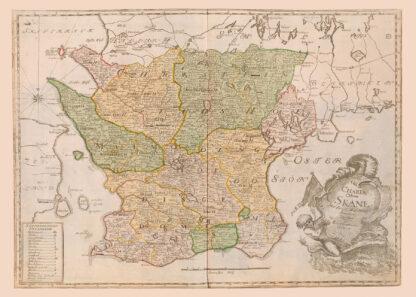 Karta över Skåne från 1700-talet