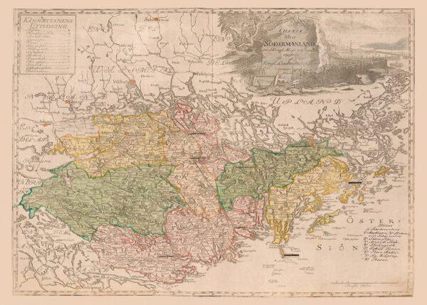 Karta över Södermanland och Mälaren