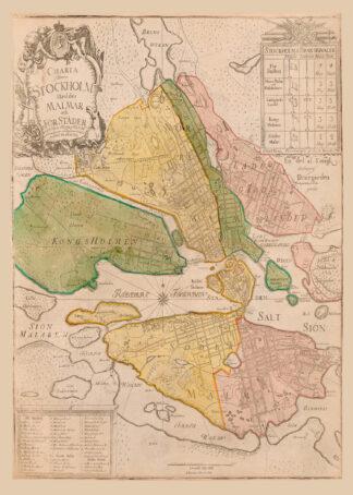"""Karta över Stockholm från 1751 med dess """"malmar och förstäder""""."""
