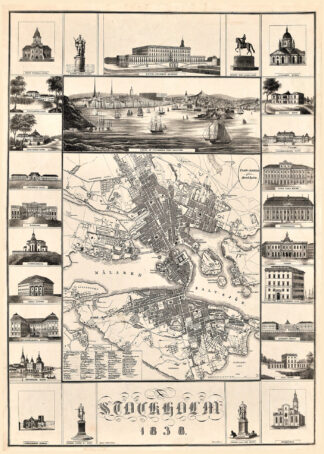 Karta över Stockholm från 1838