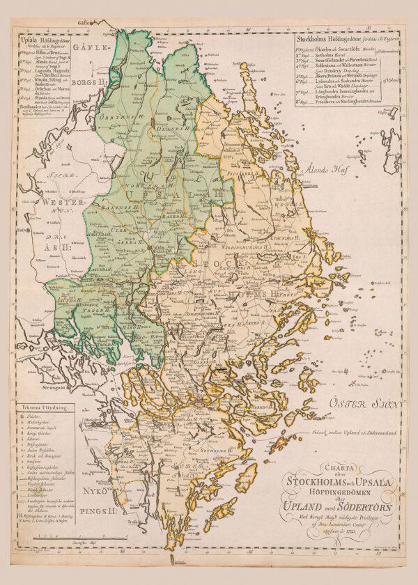 Karta över Uppland och Södertörn 1785