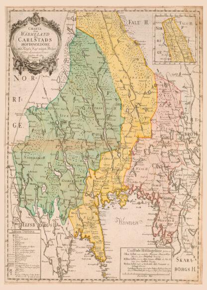 Historisk karta över Värmland 1783.