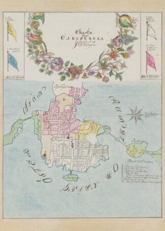 Poster över Karlskrona stad på 1700-talet.