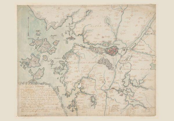 Karta över Göteborg med omgivningar 1801