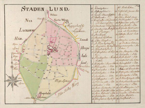 Karta över lund 1802
