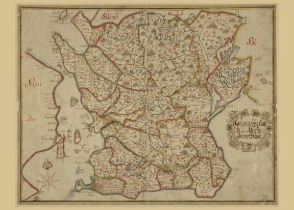 Karta över Skånes hertigdömen 1700-tal.