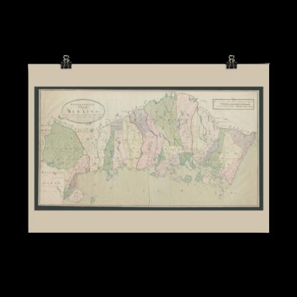Poster med geografisk karta över Blekinge med bland annat skog och mark, åar, bäckar, insjöar, städer, kyrkkor och byar, broar, hamnar och skeppsleder. Kartans orginal framtaget 1797.