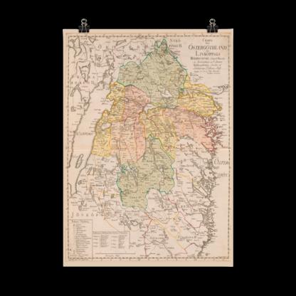 Karta över Östergötland från 1779