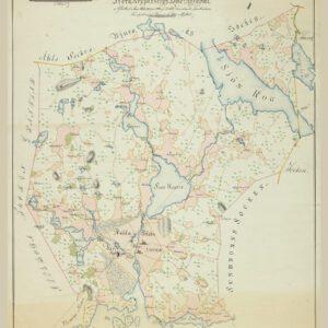 Poster med karta över Kopparbergs socken i Stora Kopparbergs hövdingedöme.