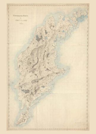 Karta över Gotland 1800-tal.
