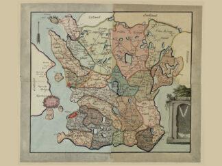 Poster med karta över Skåne från 1700-talet.