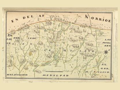 Karta över Jämtland och Härjedalen vid gränsen mot Norge
