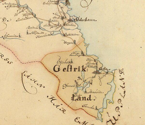 Vägkarta över Gävleborgs län 1731