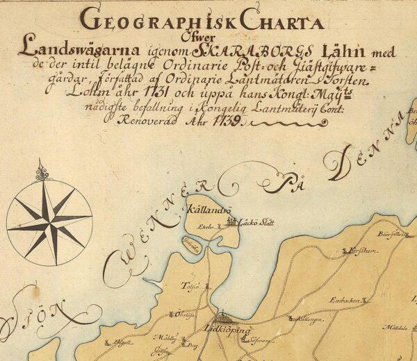 Vägkarta över Skaraborgs län 1731